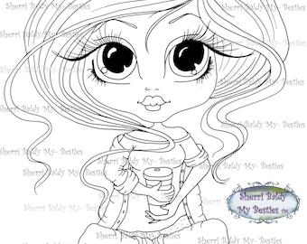 INSTANT DOWNLOAD digitale Digi Stamps Big Eye Big Head poppen Bestie img 147 koffie tijd My Besties door Sherri Baldy