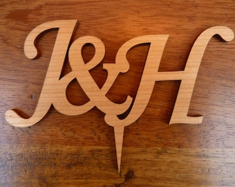 Personalised Initials Wedding Cake Topper: Wood Cake Decoration Rustic