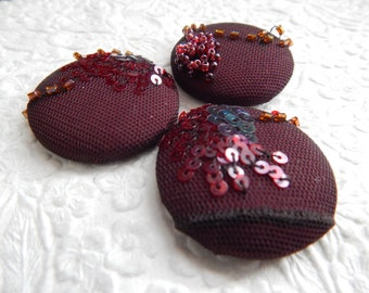 3 dark brown beaded sequinned embroidered fabric buttons, good for sewing projects, use in a wedding bouquet, 1.5 inches, size 60 buttons