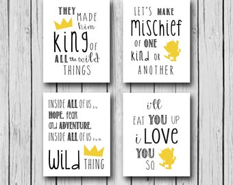 Where The Wild Things Are Party Supplies, Wild Things Baby Shower, I'll Eat You Up I Love You So, Four 8x10 Instant Downloads