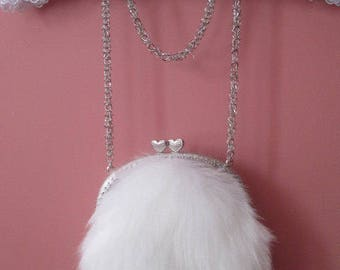 Faux Fur Purse in White / Birthday's Gift Idea / Valentine's Gift Idea / Wedding accsesories / Chic bag / Easter