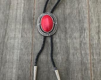 Silver and Red stone Bolo Tie