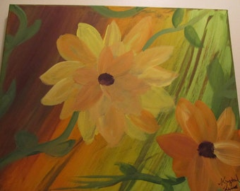 one of a kind Acrylic Sunflower painting