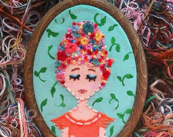 Embroidered Art Hoop - Flor