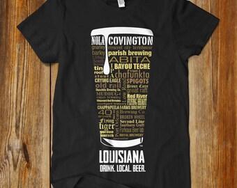 LOUISIANA CRAFT BEER Typography T-shirt, Drink Louisiana Craft Beer, Fathers Day, Oktoberfest, Hoppy shirt, Nola Shirt, New Orleans Shirt