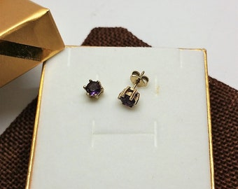 Earrings Gold 333 Amethyst Stainless OR163