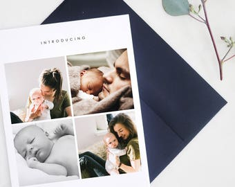 Birth Announcement Cards, Baby Cards, Elegant, Simple, Baby Announcement, Photo Card, Custom Birth Cards - Introducing Birth Announcement
