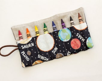 Outer Space Crayon Roll, Crayon Roll with Planets, Astronomy Fabric Crayon Holder, Blue, Orange, and Tan Cotton Fabrics, Handmade