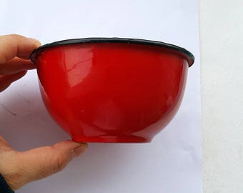 Vintage french red enamel bowl Japy bowl with black rim 1950's small enamel bowl Enamelware Old kitchen farmhouse country chic decor