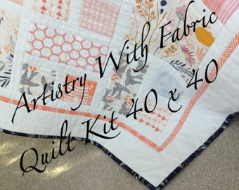NEW!  Morning Walk Baby QUILT KIT--40 x 40 Ready to Ship--Southwestern desert theme in corals, pinks, navy, mustard.