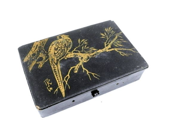 Antique Napoleon III / 3 Black Lacquer and Gold Gilt Carton Bouilli / Papier Mache Playing Card Box Signed by Artist Featuring a Pheasant