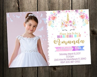 Unicorn Birthday Invitation, Rainbow Unicorn Birthday Invitation, Magical Invitation, Pink Glitter, Magical Unicorn, Photo invitation