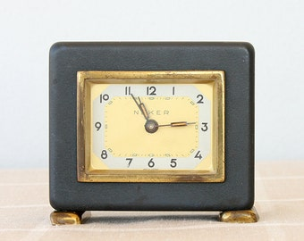 Vintage musical alarm clock German musical clock Old desk clock Wind up clock Mechanical clock Table clock Collectible Neker clock