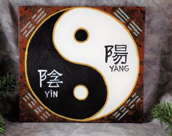 Hand Painted Yin Yang and Hexagrams Wall Hanging China Tao Chi