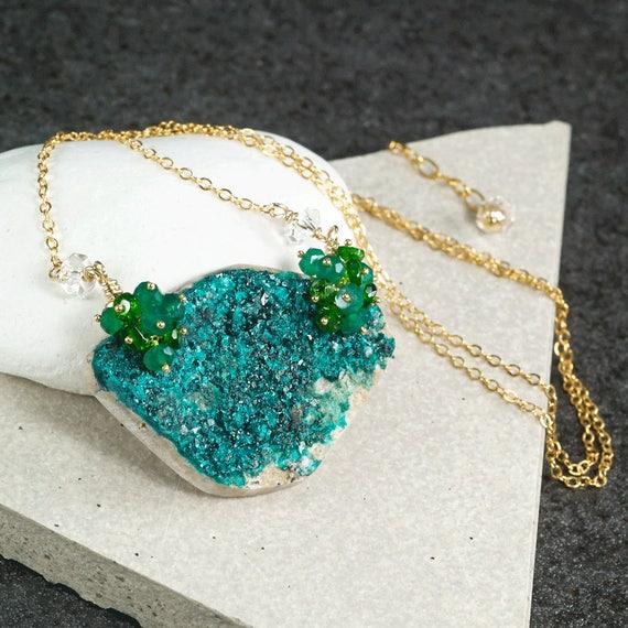 Raw dioptase necklace green dioptase pendant green gemstone aloadofball Choice Image