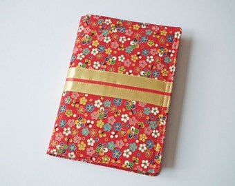 A6 'Kimono' Notebook Cover, Diary Cover, Journal Cover, Japanese Cotton Fabric, Red, Gold, Fits Hobonichi A6 Planner, Cute Floral, UK Seller
