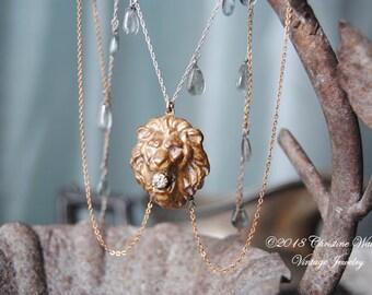 Jungle Rain--Vintage Victorian Paste Lion Brooch Gold Filled Sterling Draped Vintage Chain Aquamarine Briolette NECKLACE