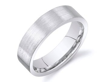 14k White Gold Band (6mm) / PLAIN / Matte Brushed Flat + Comfort Fit / Men's Women's Wedding Ring