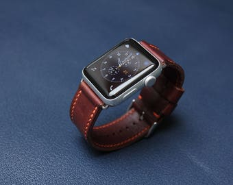Handmade Leather Apple Watch Strap from HlavkaLeather - 100% handmade (handcut, handstitched) - Brown Elbamatt