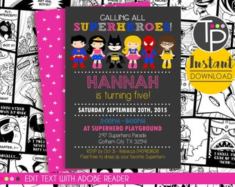 SUPERHERO Girl Invitation, INSTANT DOWNLOAD Superhero Invitation, Girl Superhero, Girl Superhero Invitation, Edit yourself with Adobe Reader