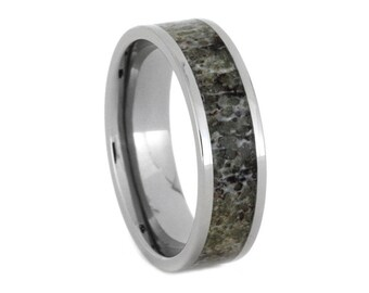 Womens Antler Wedding Ring, Titanium Wedding Ring with Deer Antler Inlay for Him, Signature Style