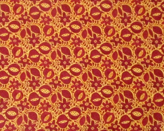 Red Cranberry Orange Pomegranates Flowers Leaves Quilter's Weight Cotton Print Fabric - One Yard - Yardage - By the Yard