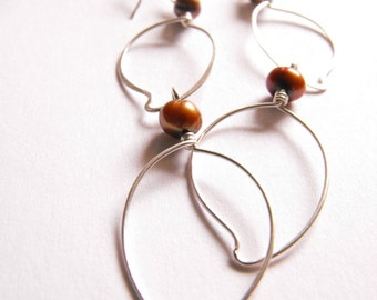 Cecy, Hand Forged Leaves Hammered and Adorned With Copper Pearls Earring