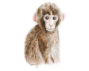 Baby Monkey Print, Safari Nursery Art, Animal Print, Monkey Nursery Art, Safari Animal, Monkey Art, Baby Girl, Boys Room, Brown, Neutral