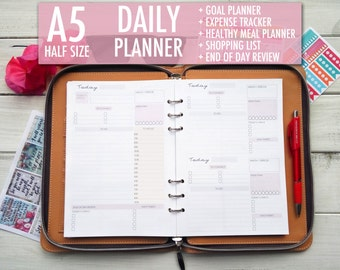 Daily Planner 2018, Daily Planner, Daily Planner Pages, Diary 2018, A5 Planner Inserts, A5 Planner, Filofax A5, To Do List, Undated Planner