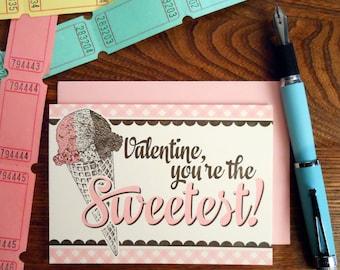 letterpress valentine you're the sweetest greeting card ice cream cone neapolitan soda fountain