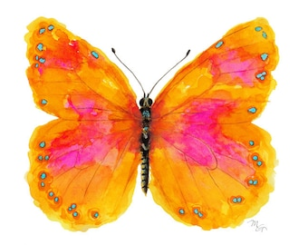 Pink Butterfly Watercolor- Giclee Print - Butterfly Decor - Pink and Orange.