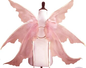 Emmaline No. 4 - Large Organza Fairy Wings in Pink and Ivory - Strapless Convertable