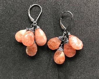 Sunstone on oxidized sterling silver- dangle earrings