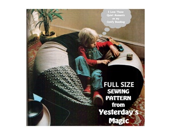 FULL SIZE Instant Download PDF A4 Printable Sewing Pattern to make a Giant Bean Bag Chair Large Floor Cushion Retro Childrens Furnishing