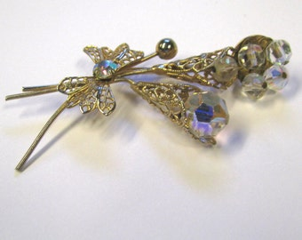 Vintage Stemmed Flower Art Deco Brooch With AB Beads, Gold tone Brooch, Stemmed Bouquet Brooch, Wear or Repurpose Brooch