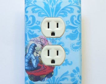 Alice Outlet cover sets with MATCHING SCREWS- Alice in Wonderland art for walls Alice collectible Alice nursery outlet covers blue and brown
