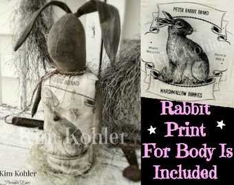 Instant Primitive Bunny Bun Rabbit Doll Pattern Download Animal E PDF Patterns Digital Print Fabric Cloth Sewing Scrappy Veenas Kim Kohler