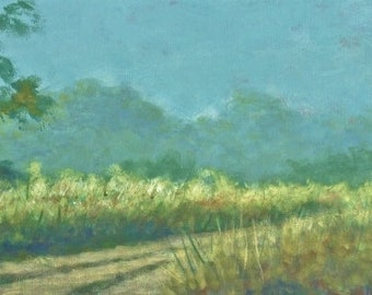 Panoramic tropical grasslands with path painting (Back Road Morning) - (Free Shipping)