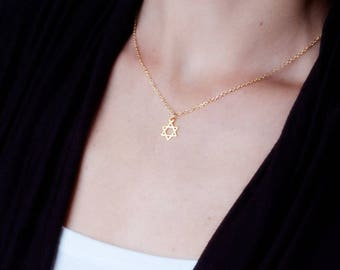 Jewish star necklace etsy gold star of david necklace jewish star necklace dainty gold necklace magen david necklace tiny star of david necklace delicate jewelry aloadofball Images