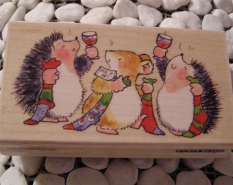 To a full Stocking Hedgehog Penny Black wood mounted Rubber Stamp