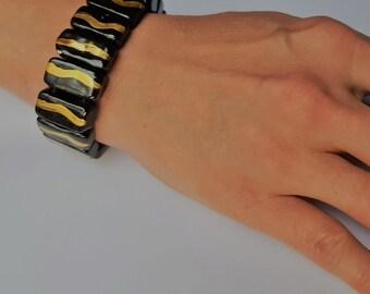 Bracelet-handmade ceramic bracelet Z4 with pure gold-adjustable