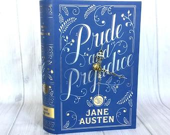 Pride and Prejudice, Book Clock, Book Club Gift, Jane Austen, Bookish Home Decor, Book Decor, Library Decor, Book Lover Gift, Librarian Gift