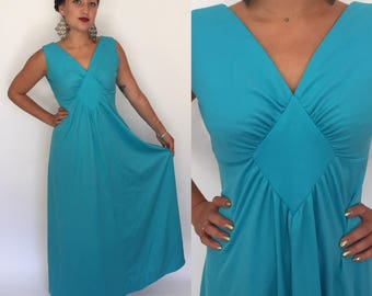 SALE was 44 Small 1970s turquoise blue maxi dress