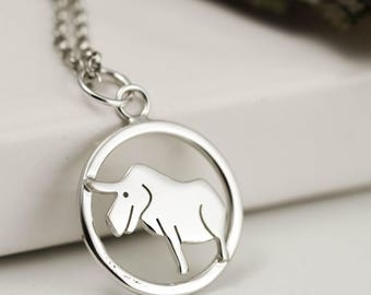 Year of the Ox Necklace - Sterling Silver Ox Necklace - Zodiac Jewellery - Ox Gifts