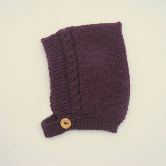 Cable Knit Pixie Hat in Plum - Made to Order