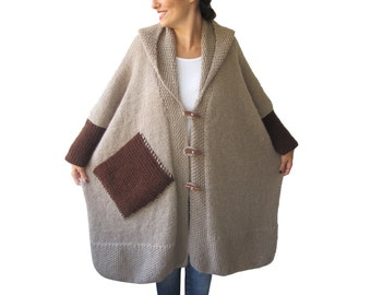 Plus Size Over Size Beige Mohair Overcoat - Poncho - Pelerine with Hood and Brown Pocket
