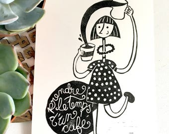 Print linocut original artwork, take the time for coffee, handmade lino print, inspirational black and white