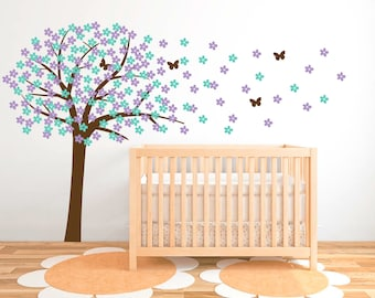 Cherry Blossom wall decal, Nursery Wall Decals, Tree wall decals for nursery, White tree wall decals, Vinyl decal, Wall stickers  DB208