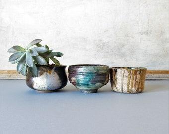 Vintage studio pottery planters, succulent planters,ceramic planters, mid century style pottery, boho decor