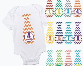baby monthly tie stickers colourful zig zag chevron boy month baby growth milestone newborn baby shower gift photo prop keepsake